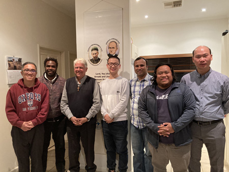 Bishop Charles Gauci with SVD confreres Central Australia 450